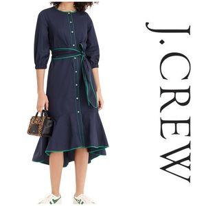 J.Crew Tipped Cotton Poplin Dress - Navy